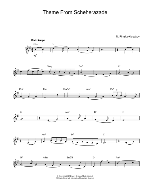 Nikolai Rimsky-Korsakov Theme from Scheherazade sheet music notes and chords. Download Printable PDF.