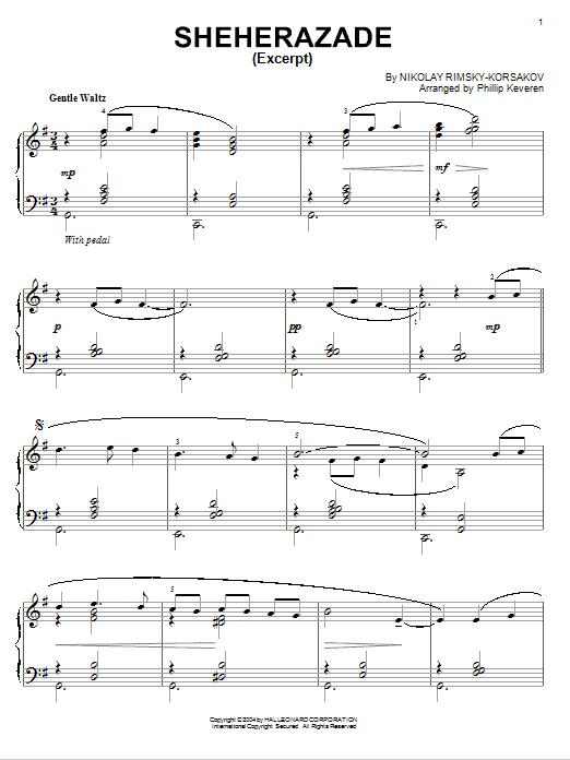 Nikolai Rimsky-Korsakov Theme From Sheherazade [Jazz version] (arr. Phillip Keveren) sheet music notes and chords. Download Printable PDF.