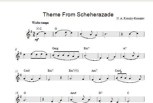 Nikolai Rimsky-Korsakov Theme from Scheherazade sheet music notes and chords. Download Printable PDF.