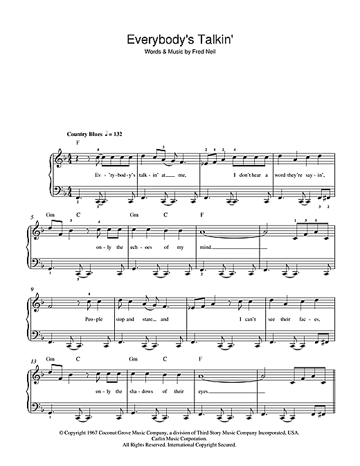 Nilsson Everybody's Talkin' sheet music notes and chords. Download Printable PDF.