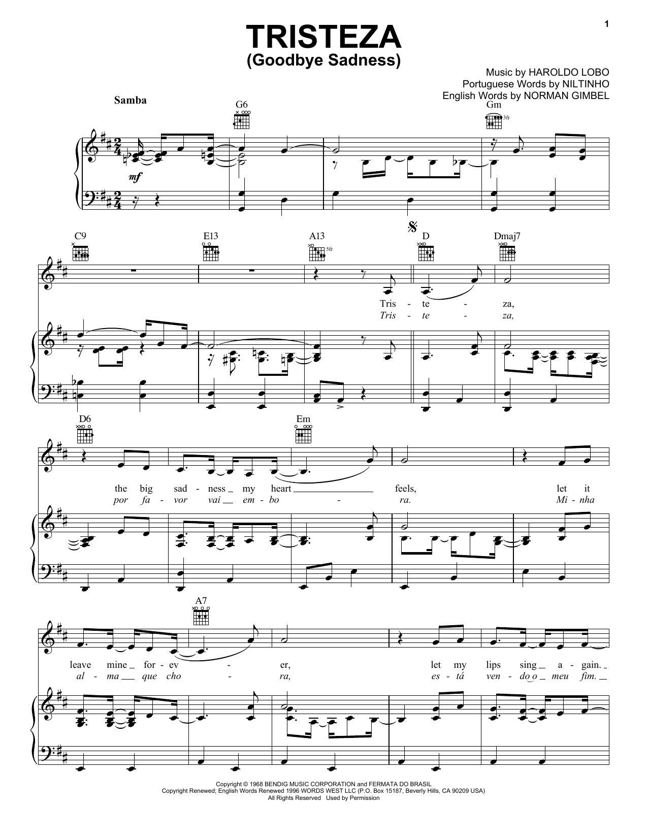 Niltinho Tristeza (Goodbye Sadness) sheet music notes and chords. Download Printable PDF.