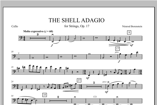 Nimrod Borenstein The Shell Adagio - Cello sheet music notes and chords. Download Printable PDF.