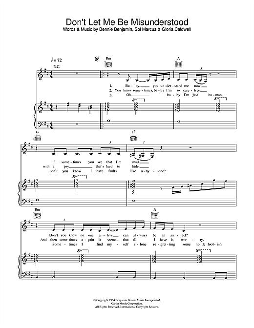 Nina Simone Don't Let Me Be Misunderstood sheet music notes and chords