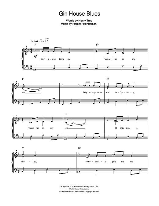 Nina Simone Gin House Blues sheet music notes and chords