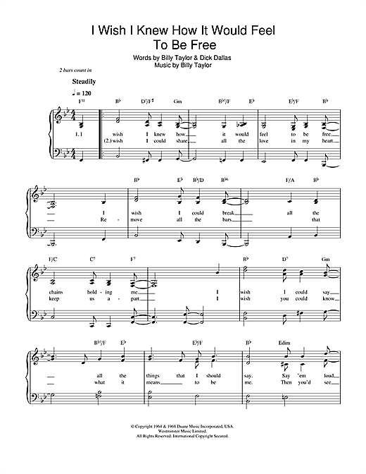 Nina Simone I Wish I Knew How It Would Feel To Be Free sheet music notes and chords. Download Printable PDF.