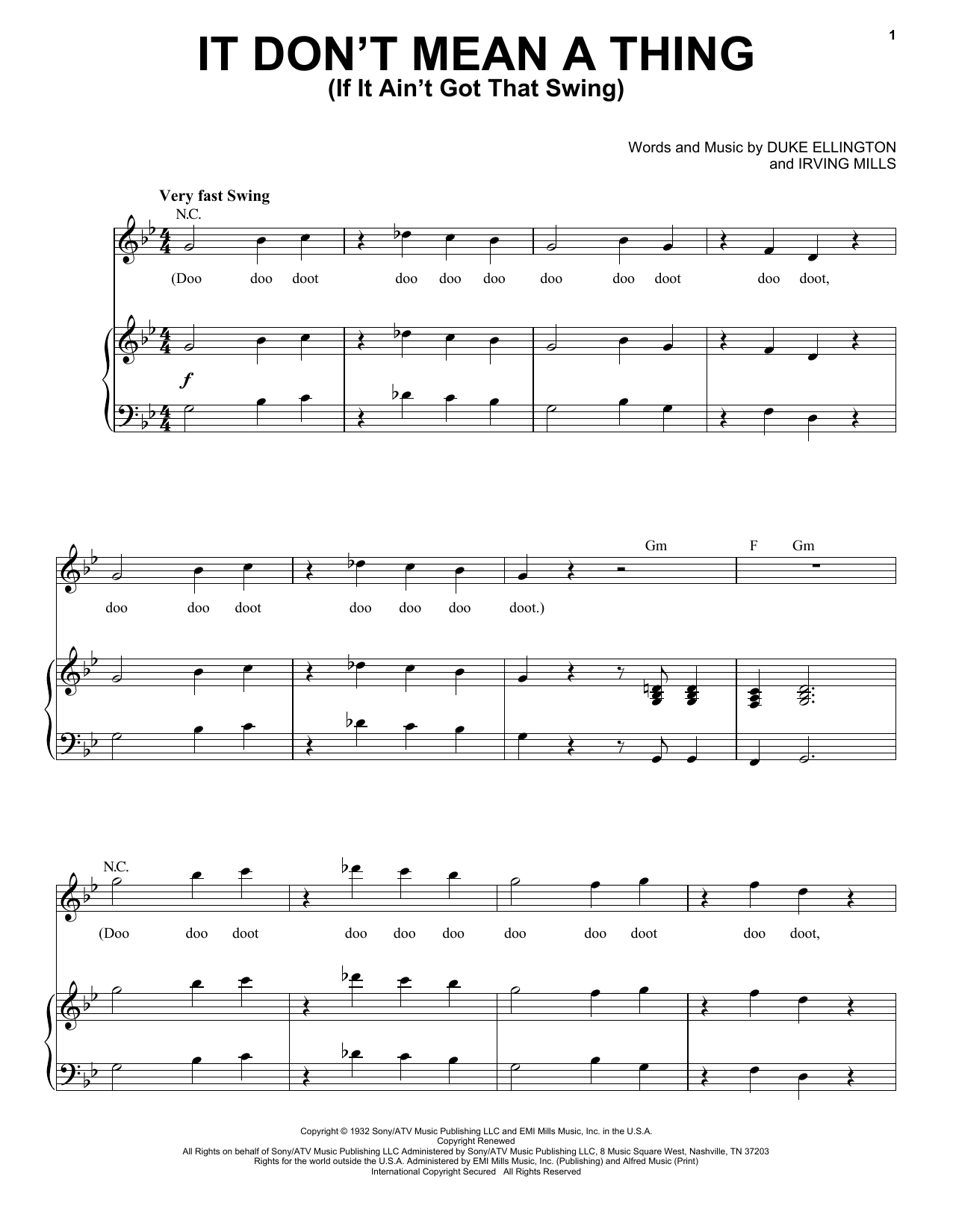 Nina Simone It Don't Mean A Thing (If It Ain't Got That Swing) sheet music notes and chords. Download Printable PDF.