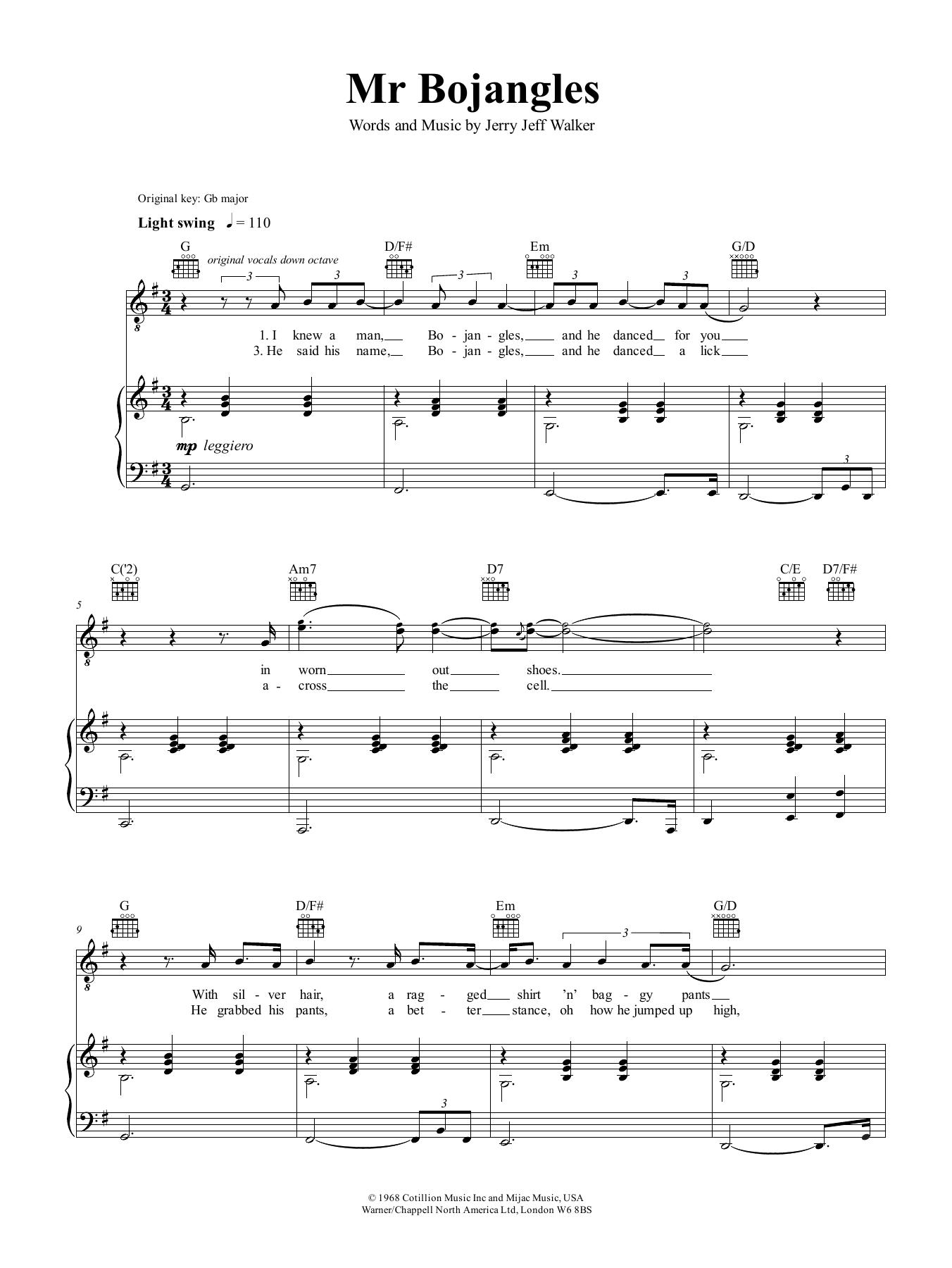 Nina Simone Mr Bojangles Sheet Music Notes, Chords   Download Printable  Piano, Vocal & Guitar Right Hand Melody PDF Score   SKU 15