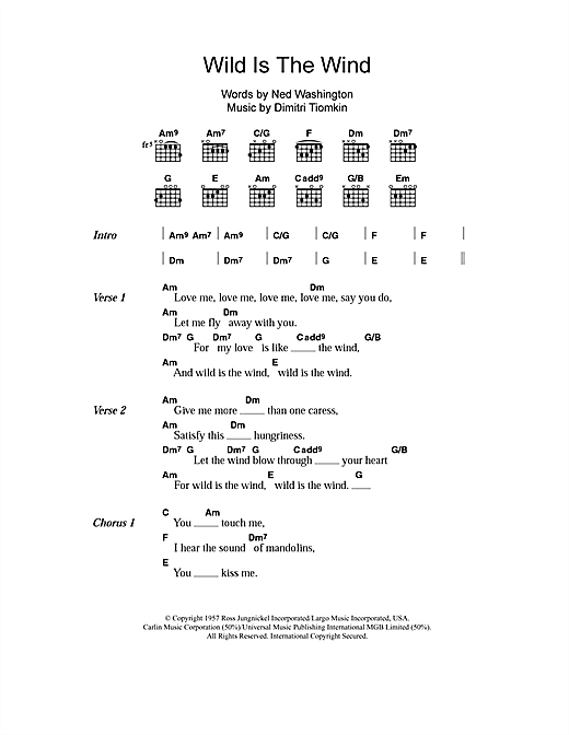 Nina Simone Wild Is The Wind sheet music notes and chords. Download Printable PDF.