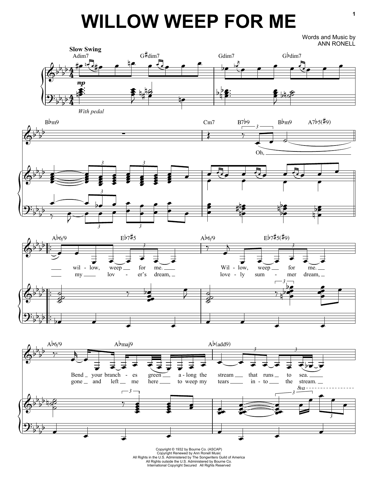 Nina Simone Willow Weep For Me sheet music notes and chords. Download Printable PDF.