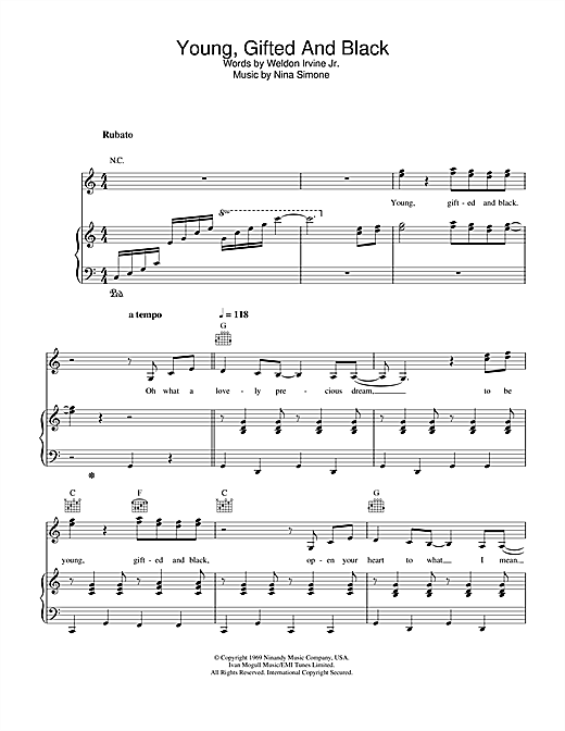 Nina Simone Young, Gifted And Black sheet music notes and chords. Download Printable PDF.