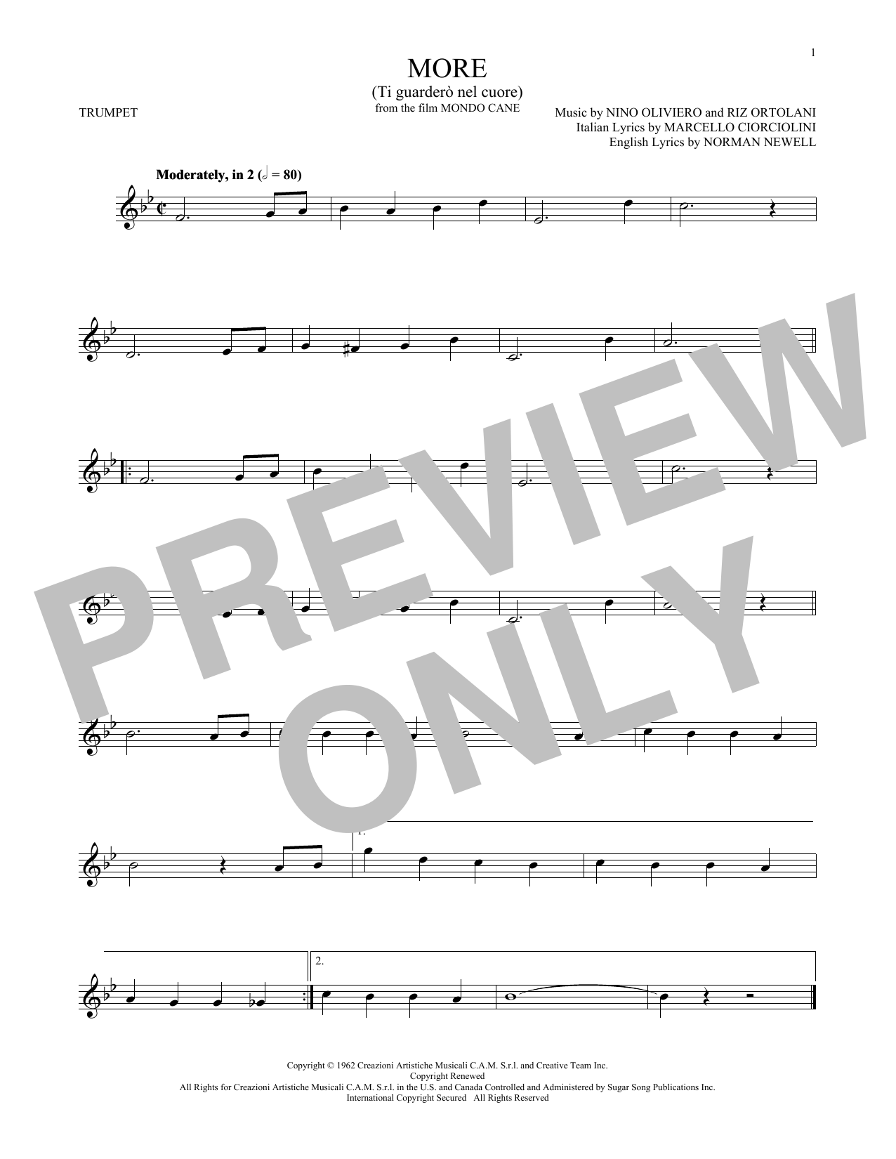 Nino Oliviero More (Ti Guardero Nel Cuore) sheet music notes and chords. Download Printable PDF.