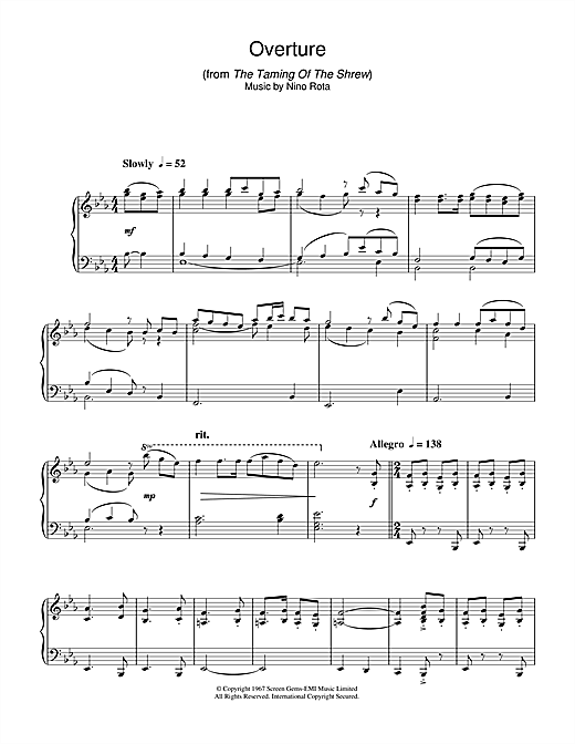 Nino Rota Overture (from The Taming Of The Shrew) sheet music notes and chords. Download Printable PDF.