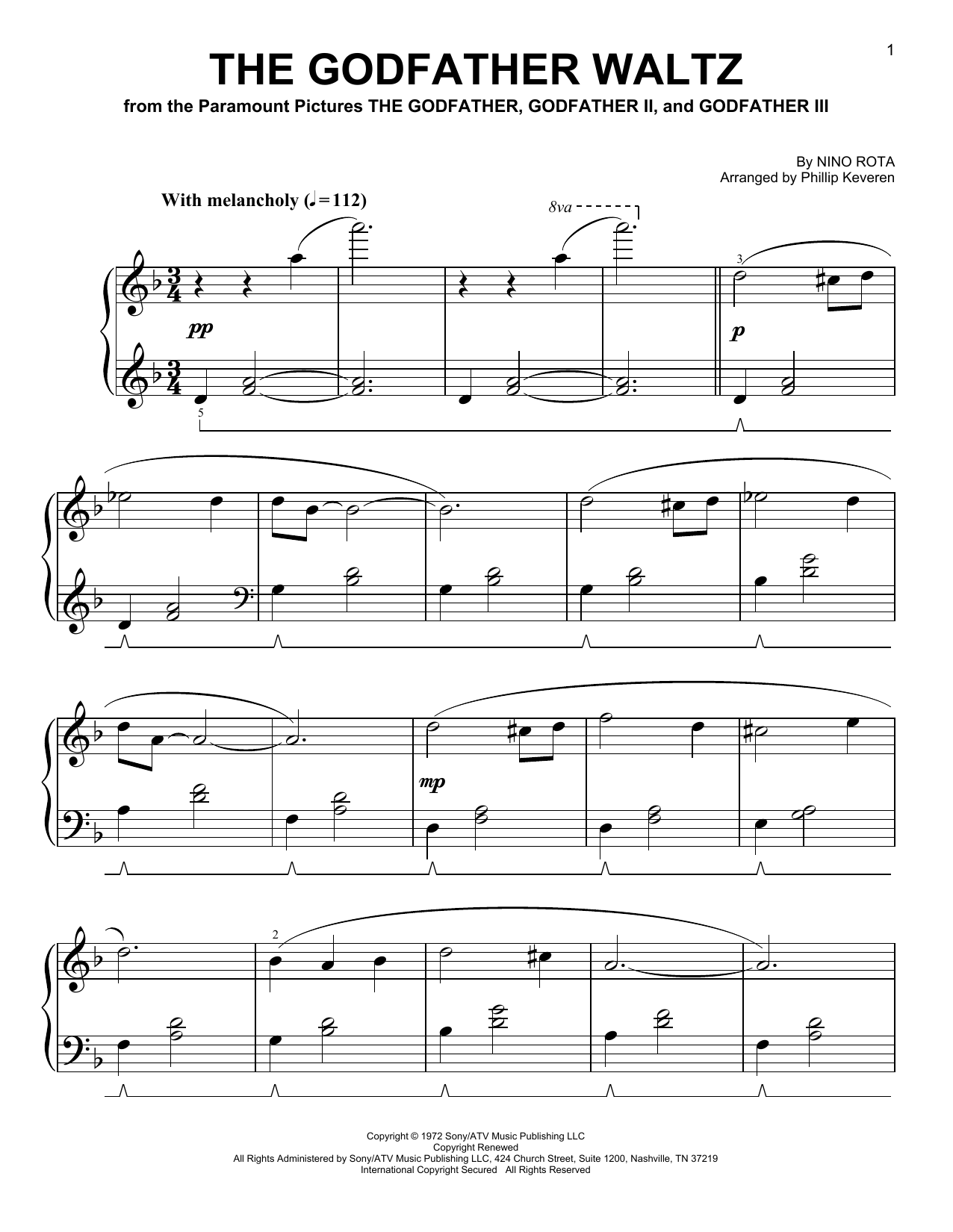 Nino Rota The Godfather Waltz [Classical version] (arr. Phillip Keveren) sheet music notes and chords. Download Printable PDF.
