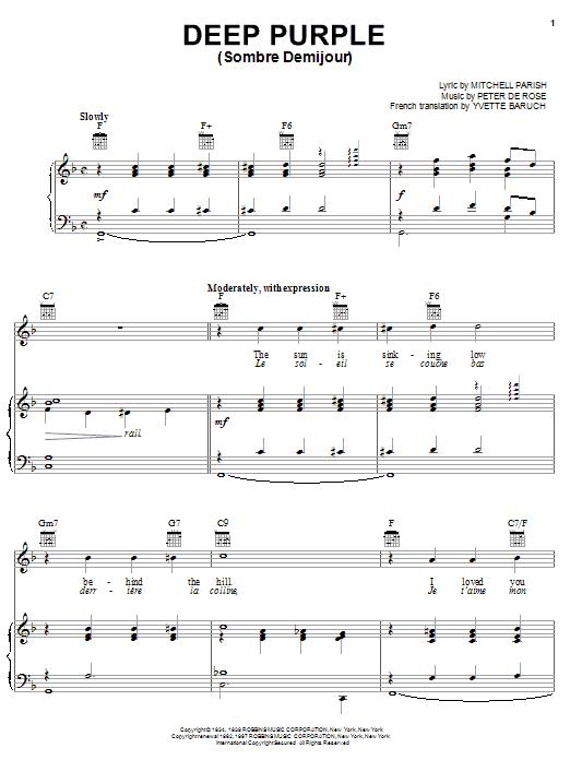 Nino Tempo & April Stevens Deep Purple sheet music notes and chords