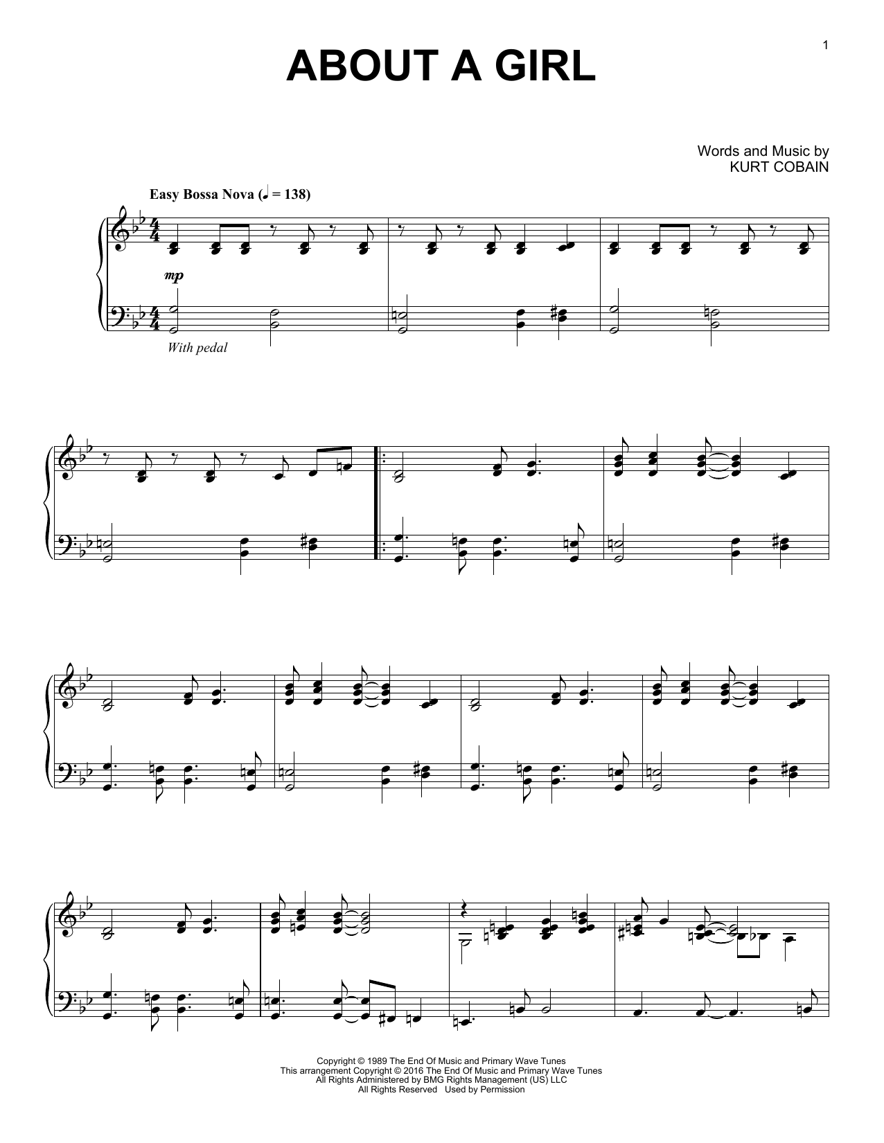 Nirvana About A Girl [Jazz version] sheet music notes and chords. Download Printable PDF.