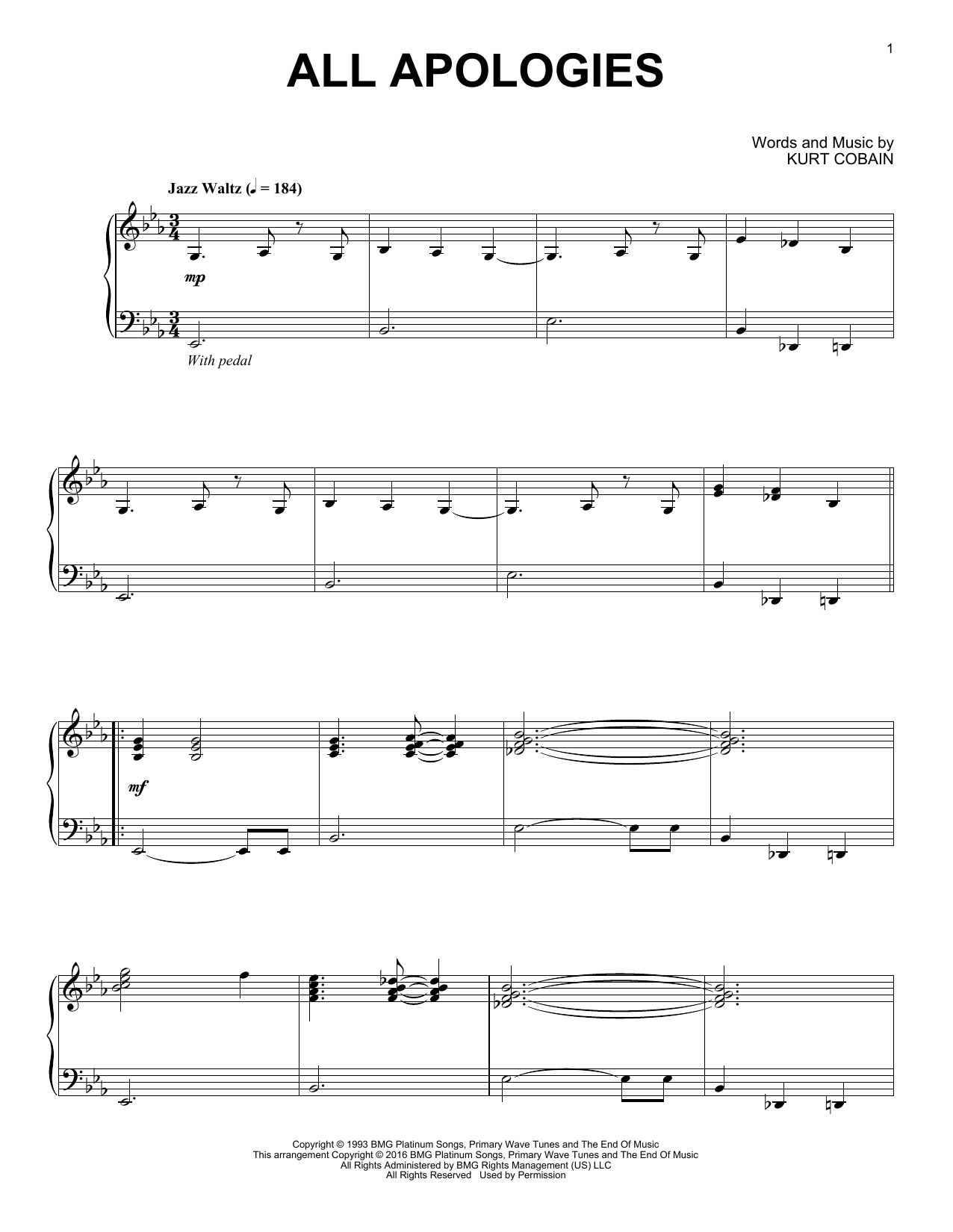 Nirvana All Apologies [Jazz version] sheet music notes and chords. Download Printable PDF.