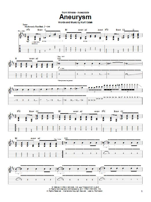 Nirvana Aneurysm sheet music notes and chords. Download Printable PDF.