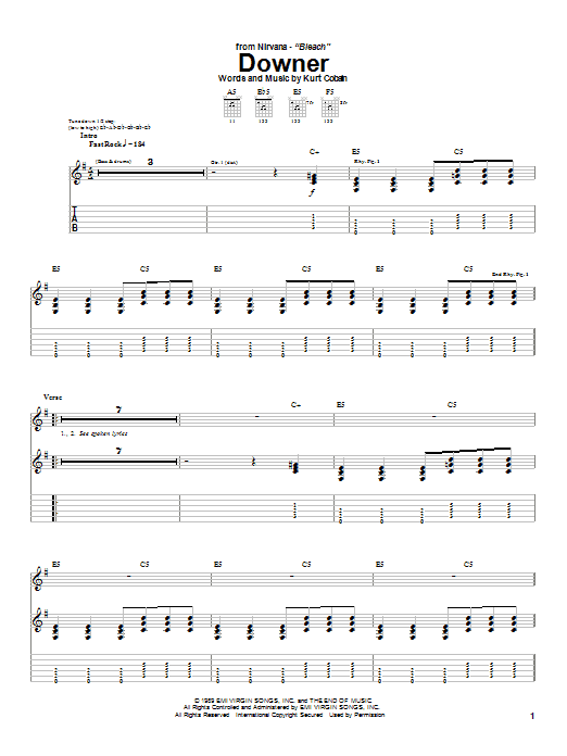 Nirvana Downer sheet music notes and chords