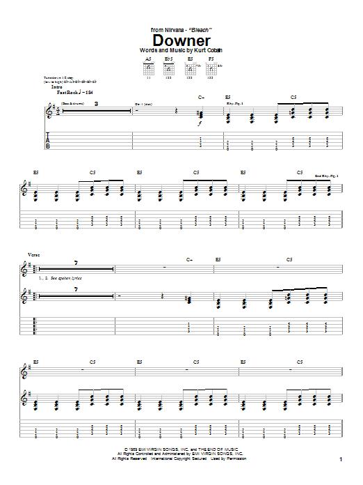 Nirvana Downer sheet music notes and chords. Download Printable PDF.