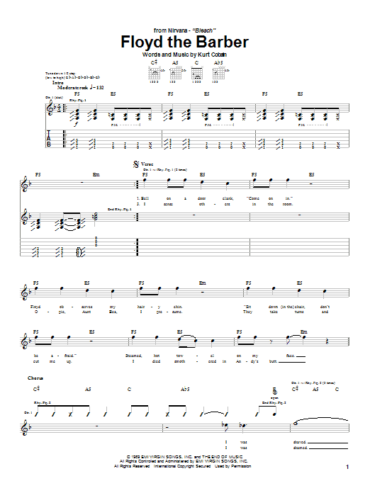 Nirvana Floyd The Barber sheet music notes and chords. Download Printable PDF.