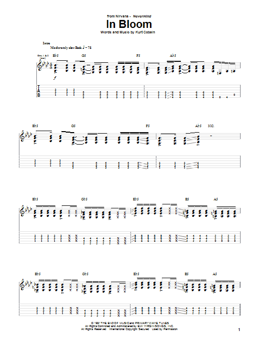 Nirvana In Bloom sheet music notes and chords