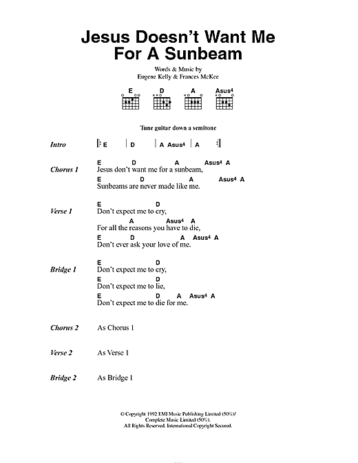 Nirvana Jesus Doesn't Want Me For A Sunbeam sheet music notes and chords. Download Printable PDF.