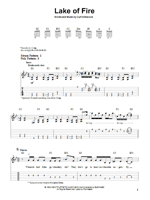 Nirvana Lake Of Fire sheet music notes and chords