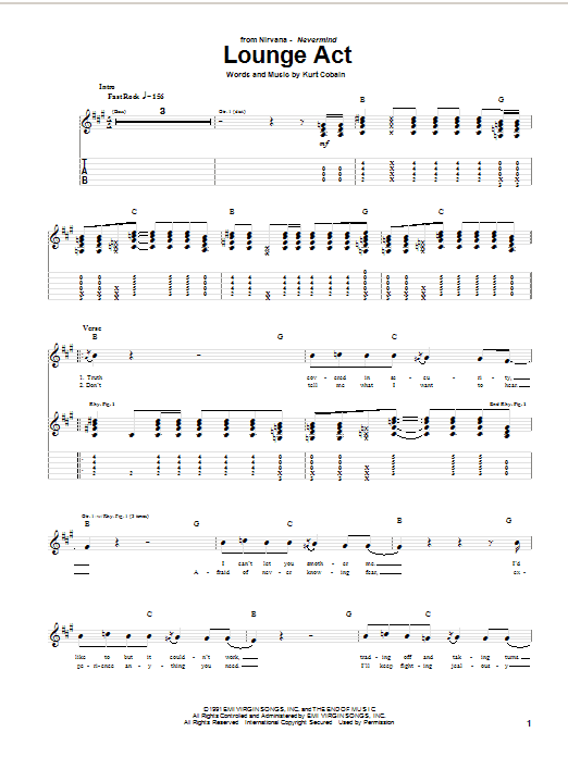 Nirvana Lounge Act sheet music notes and chords