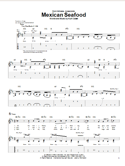 Nirvana Mexican Seafood sheet music notes and chords. Download Printable PDF.
