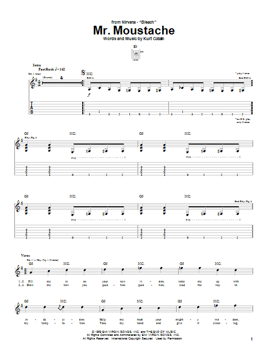 Nirvana Mr. Moustache sheet music notes and chords. Download Printable PDF.