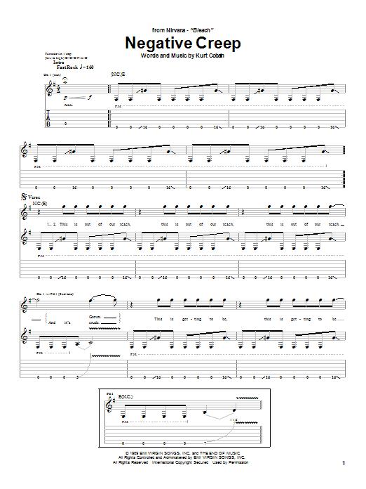 Nirvana Negative Creep sheet music notes and chords