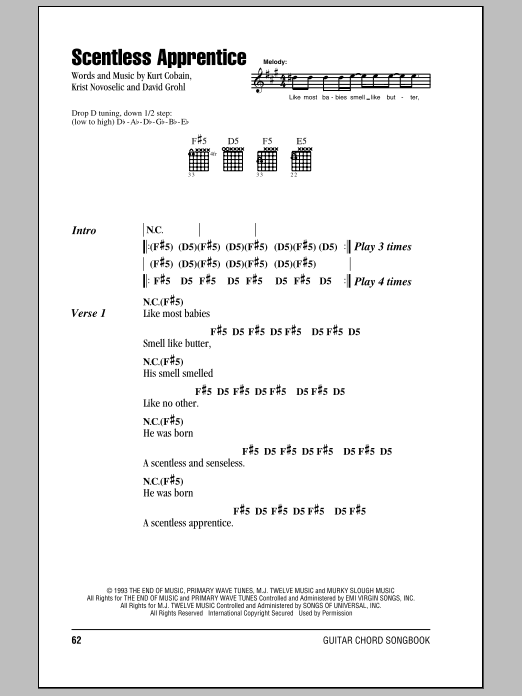 Nirvana Scentless Apprentice sheet music notes and chords