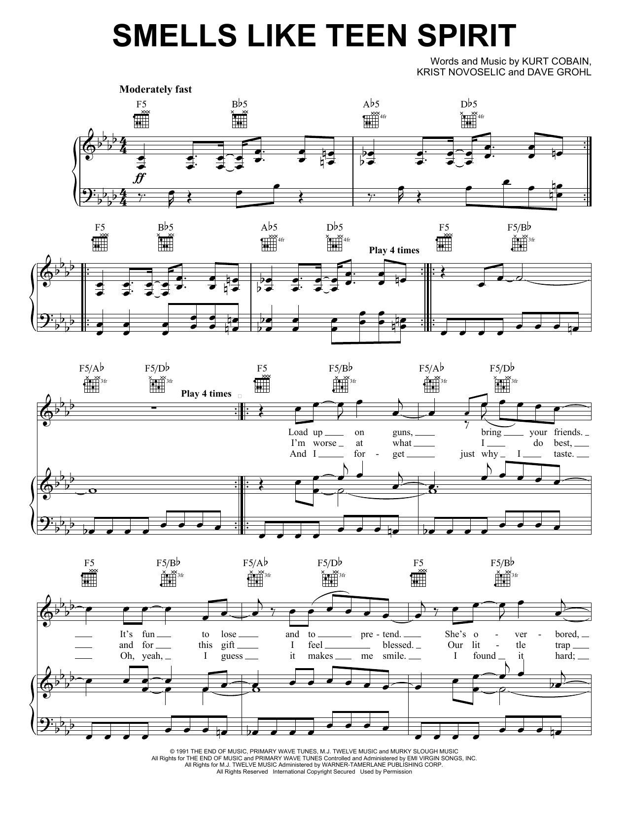 Nirvana Smells Like Teen Spirit sheet music notes and chords. Download Printable PDF.