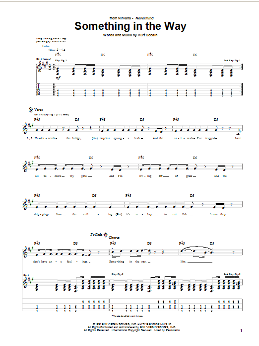 Nirvana Something In The Way sheet music notes and chords. Download Printable PDF.