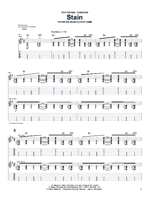 Nirvana Stain sheet music notes and chords. Download Printable PDF.