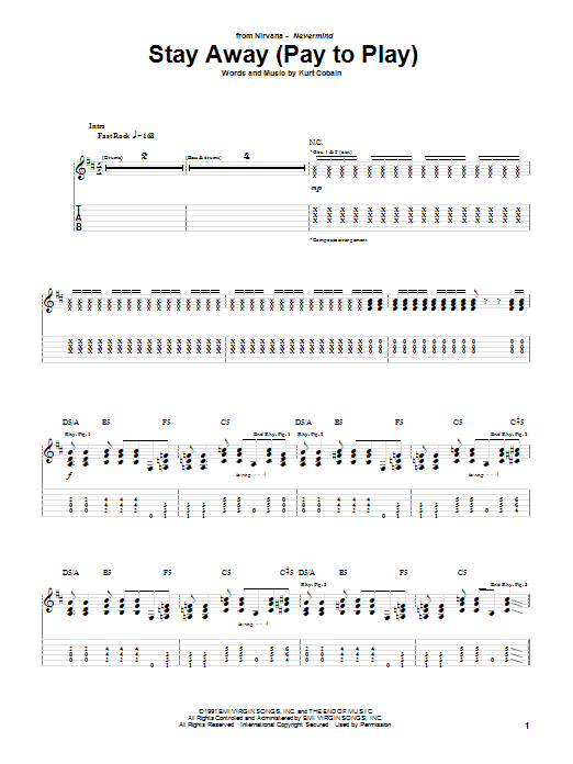Nirvana Stay Away sheet music notes and chords. Download Printable PDF.