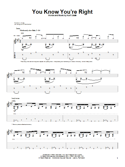 Nirvana You Know You're Right sheet music notes and chords. Download Printable PDF.