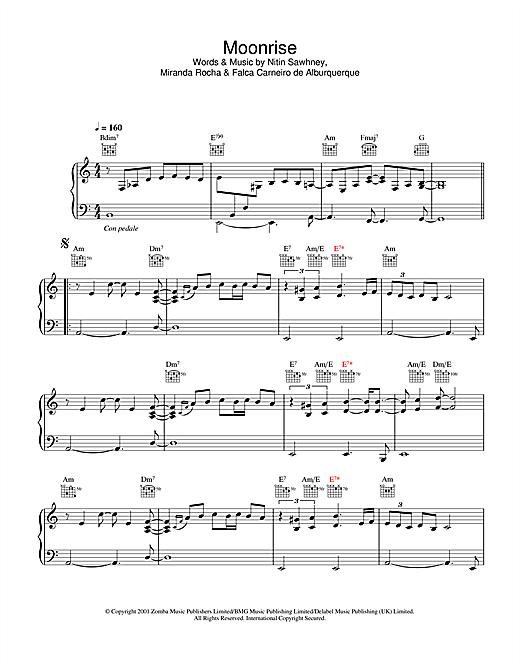Nitin Sawhney Moonrise sheet music notes and chords. Download Printable PDF.