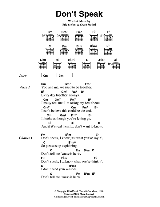 No Doubt Don't Speak sheet music notes and chords. Download Printable PDF.