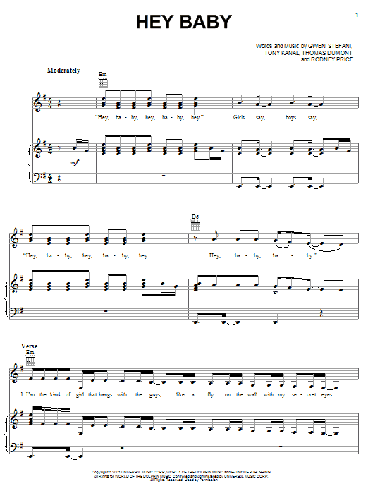 No Doubt Hey Baby sheet music notes and chords. Download Printable PDF.