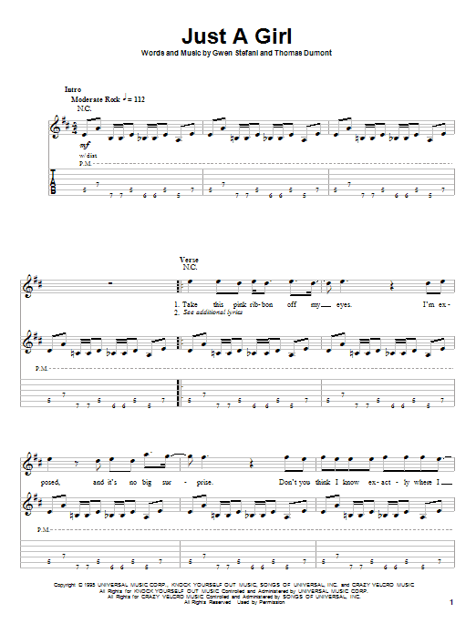 No Doubt Just A Girl sheet music notes and chords. Download Printable PDF.