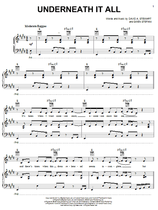 No Doubt Underneath It All sheet music notes and chords