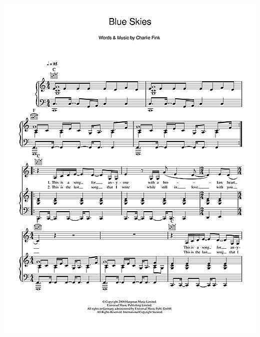 Noah And The Whale Blue Skies sheet music notes and chords. Download Printable PDF.
