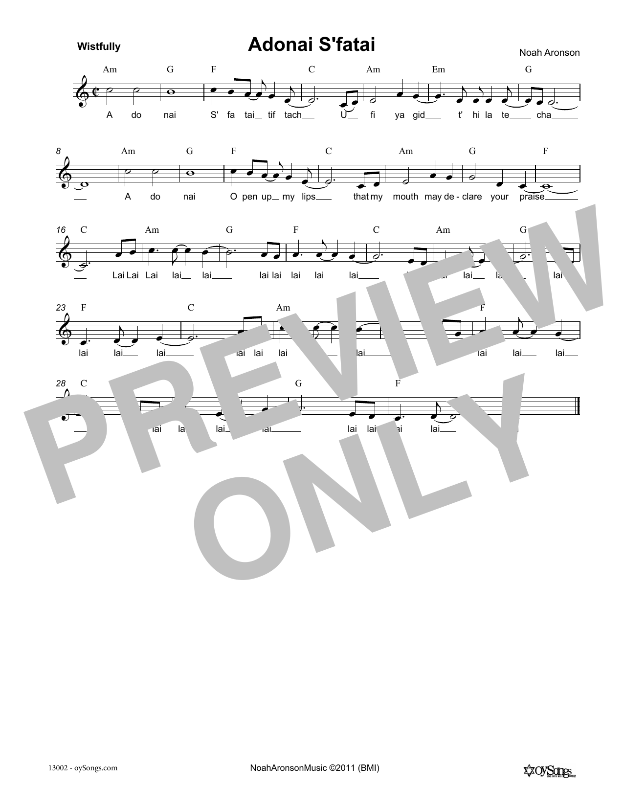 Noah Aronson Adonai S'fatai sheet music notes and chords. Download Printable PDF.