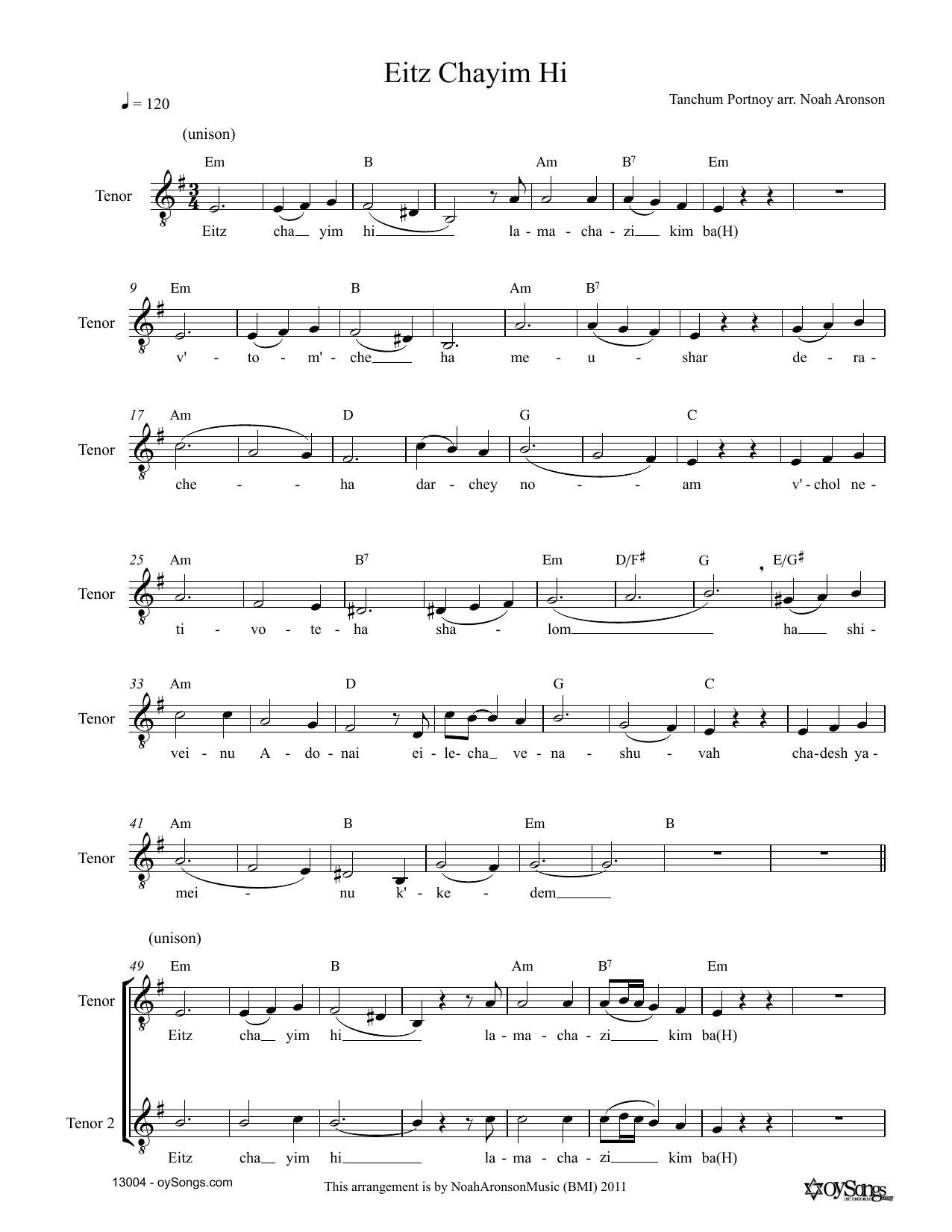 Noah Aronson Eitz Chayim Hi sheet music notes and chords. Download Printable PDF.