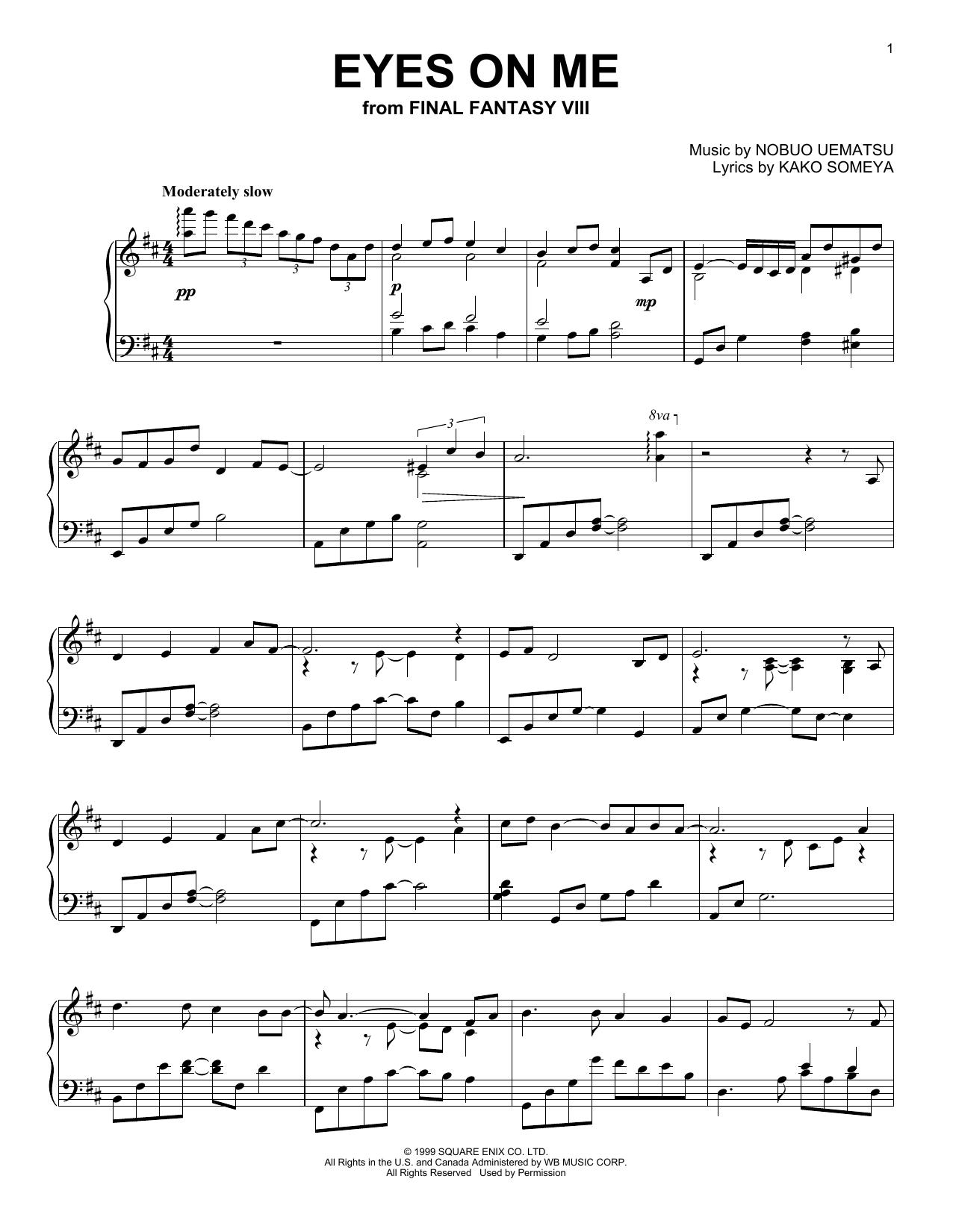 Nobuo Uematsu 'Eyes On Me' Sheet Music Notes, Chords | Download Printable  Piano Solo - SKU: 254902