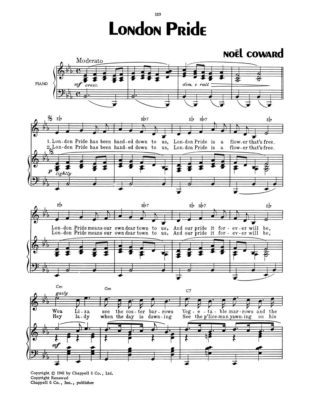 Noel Coward London Pride sheet music notes and chords. Download Printable PDF.