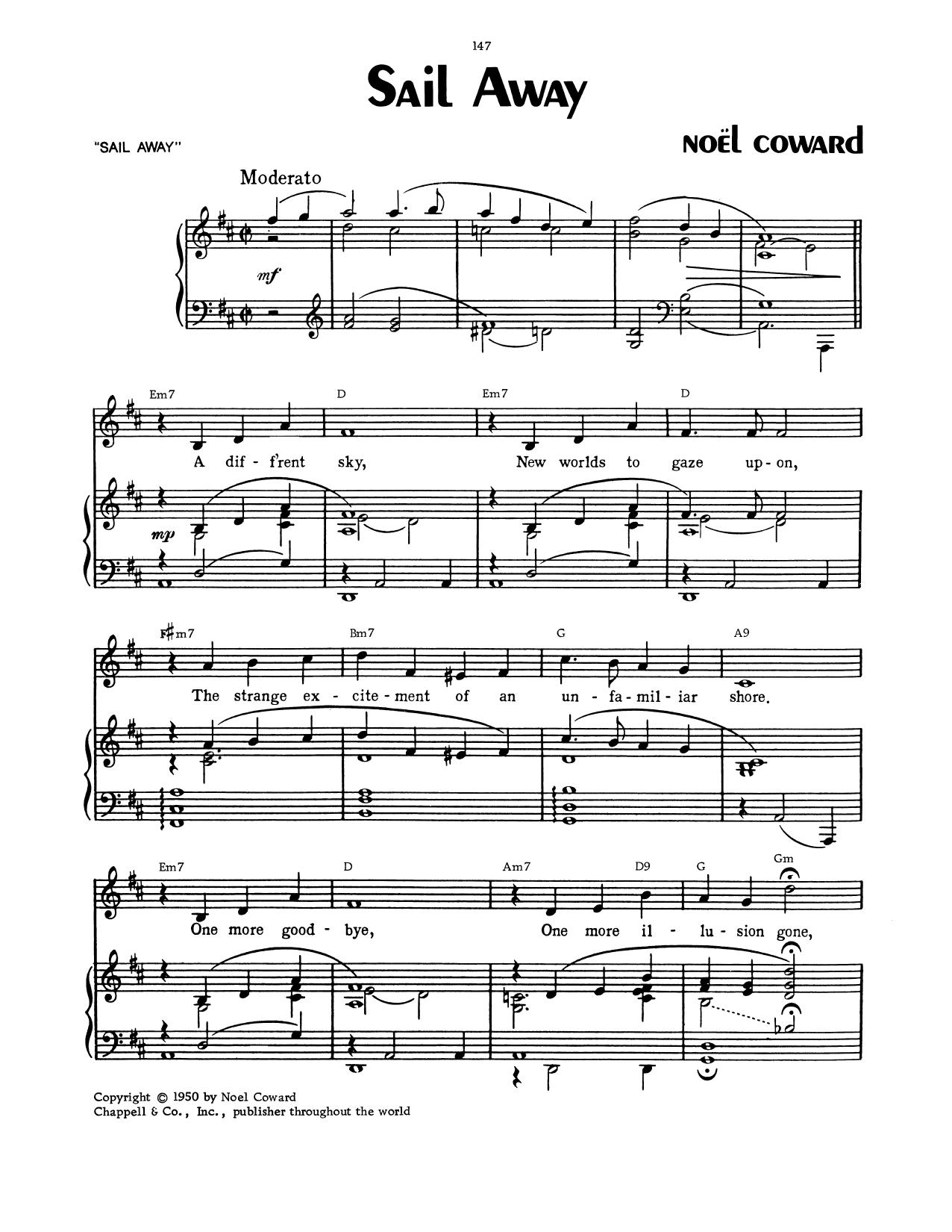 Noel Coward Sail Away sheet music notes and chords. Download Printable PDF.