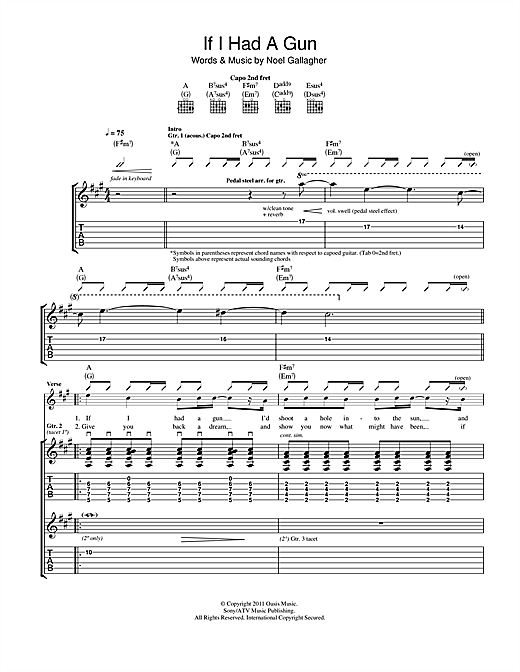 Noel Gallagher's High Flying Birds If I Had A Gun... sheet music notes and chords. Download Printable PDF.