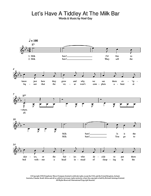 Noel Gay Let's Have A Tiddley At The Milk Bar sheet music notes and chords. Download Printable PDF.